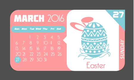 27: Calendar for each day on March 27. Holiday - Easter. In the style of a modern retro