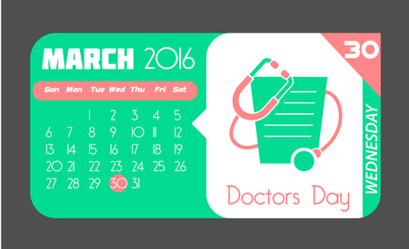 white symbol: Calendar for each day on March 30. Holiday - Doctors Day. In the style of a modern retro