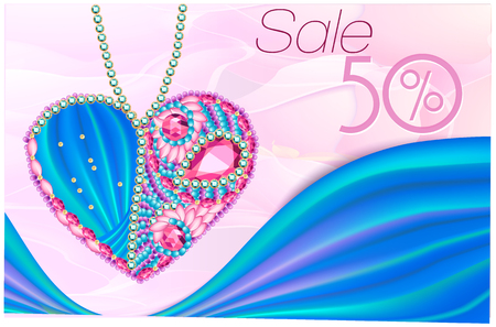 eart: Sale as ?eart of gems and ribbons 3D. Card for wedding, Valentines Day, March 8 Illustration