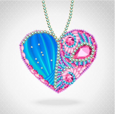march 8: Heart of gems and ribbons 3D. Card for wedding, Valentines Day, March 8