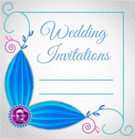 precious stones: Wedding card or invitation with jewelry made of precious stones. Illustration