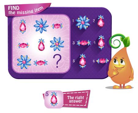 jeweled: Visual Game for children. Task: find the missing part Illustration