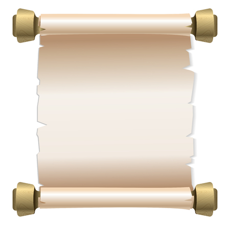 scroll of the law: Ancient scroll on white background with copy space. Illustration