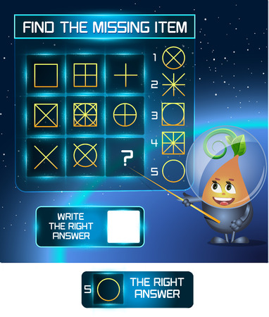 iq: Visual Game for children. Find the missing item Illustration