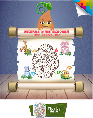 meet: Visual Game for children. Which rabbit meet  each other? Find a correct way