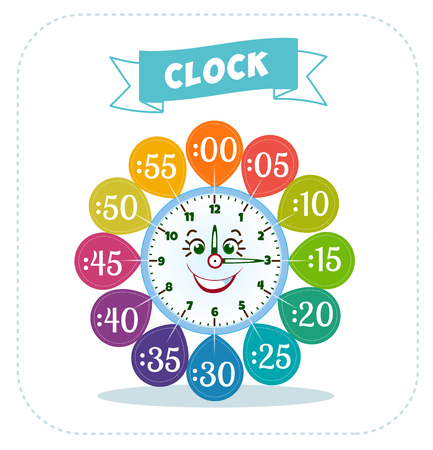 telling: Telling time worksheet for school kids to identify the time. Game for children Illustration