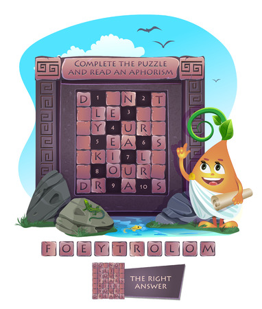 aphorism: Visual sample games for children. Complete the puzzle and read an aphorism Illustration