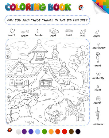 big picture: Coloring book game for kids. Setting: can you find these things in the big picture?