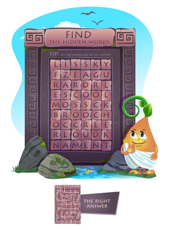 keywords adult: Zigzag word search puzzle (suitable both for kids and adults). Tip: all the words are in the picture. Task- find the hidden words. Illustration