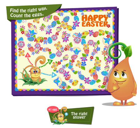 guess: Visual Game for children. Find the right way. Count the Easter eggs