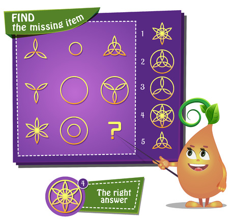 visual: Visual Game for children. Find the missing item Illustration