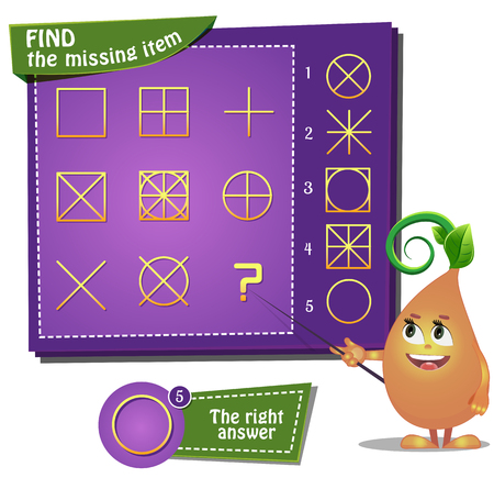 riddles: Visual Game for children. Find the missing item Illustration