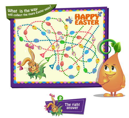 riddles: Visual Game for children. What  is the way will collect the more Easter eggs Illustration