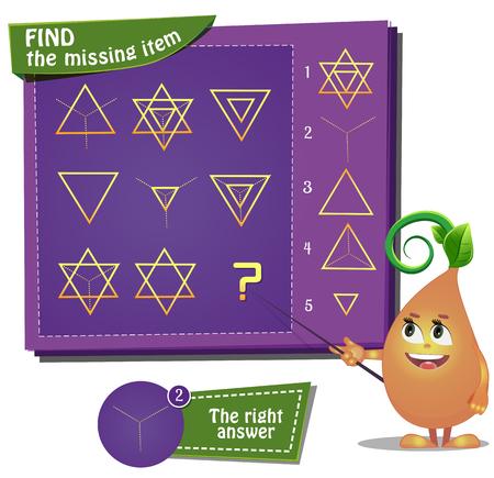 missing: Visual Game for children. Find the missing item Illustration