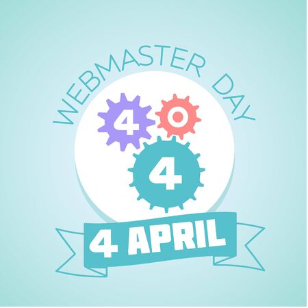 webmaster: Calendar for each day on April 4. Holiday - Webmaster day . Icon in the flat style Illustration