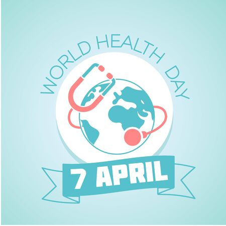 Calendar for each day on April 7. Holiday - World Health Day. Icon in the linear style