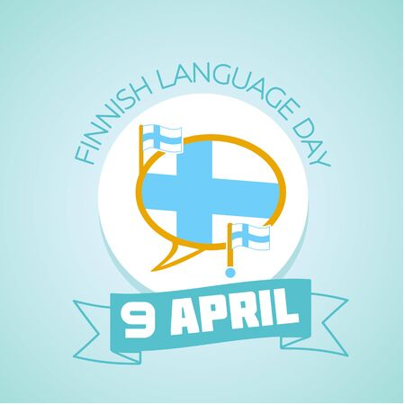 finnish: Calendar for each day on April 9. Holiday - Finnish Language Day. Icon in the linear style