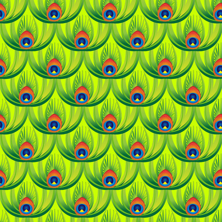 packing material: Seamless background with oriental pattern. Abstract green peacock feathers