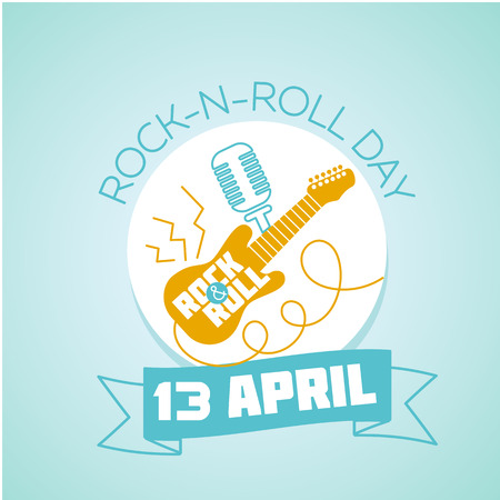 Calendar for each day on April 13. Holiday - World Rock-n-roll Day. Icon in the linear style Illustration
