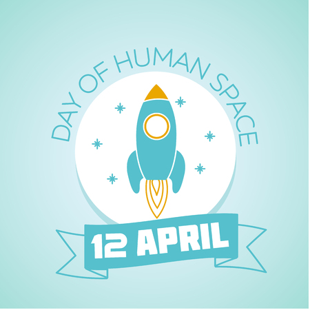 space flight: Calendar for each day on April 12. Holiday - Day of Human Space Flight. Icon in the linear style Illustration