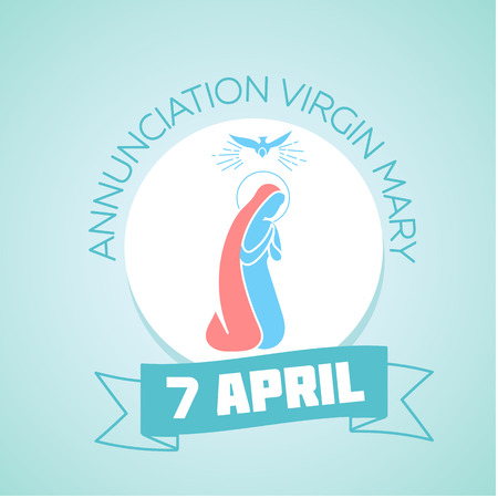 annunciation of mary: Calendar for each day on April 7. Holiday - Annunciation Virgin Mary. In the style of a modern retro