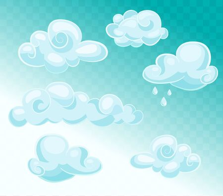 clouds sky: Set of blue sky, clouds. Cloud icon, cloud shape. Set of different clouds. Collection of cloud icon, shape, symbol.