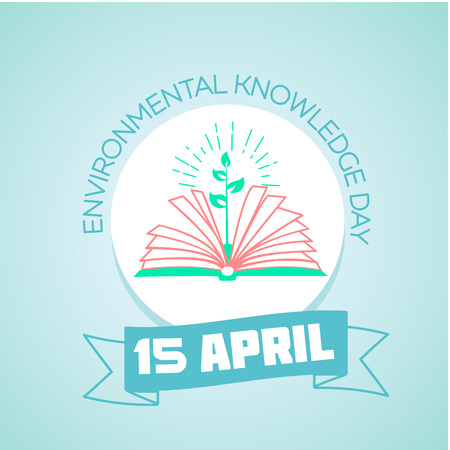 educacion ambiental: Calendario para cada día de 15 de abril de vacaciones - Día del conocimiento ambiental. la educación ecológica del icono en el estilo lineal. Día del conocimiento ambiental