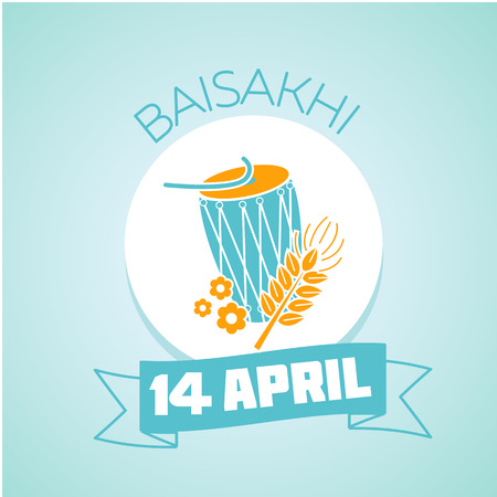 educacion ambiental: Calendar for each day on April 14. Holiday - Baisakhi ( Vaisakhi) .  education eco Icon in the linear style. Day of environmental knowledge
