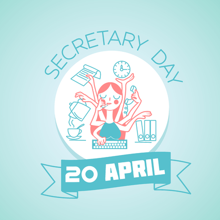 secretary: Calendar for each day on April 20. Greeting card. Holiday - secretary day. Icon in the linear style