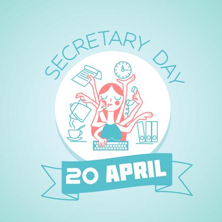 secretaria: Calendario para cada día el 20 de abril la tarjeta de felicitación. Vacaciones - día de la secretaria. Icono de estilo lineal Vectores
