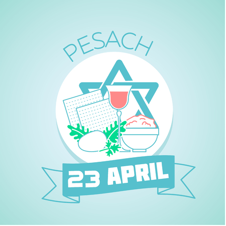 pesach: Calendar for each day on April 23. Greeting card. Holiday - Pesach. Icon in the linear style