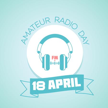 amateur: Calendario para cada d�a de vacaciones el 18 de abril - d�a de Radioaficionados. Icono de estilo lineal Vectores
