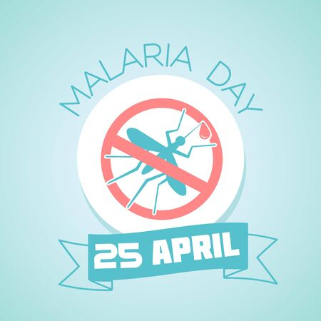 infect: Calendar for each day on April 25. Greeting card. Holiday - Malaria Day. Icon in the linear style Illustration