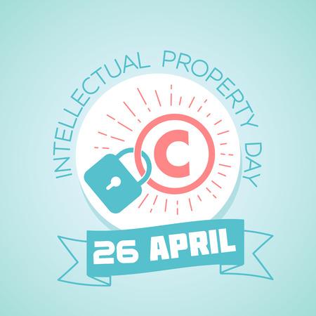 Calendario per ogni giorno il 26 aprile Biglietto di auguri. Per le vacanze - World Intellectual Property Day. Icona in stile lineare