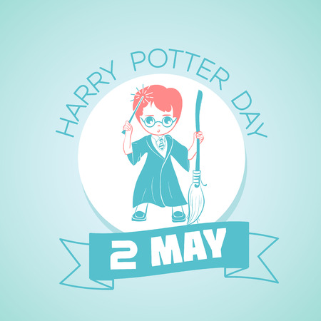potter: Calendar for each day on may 2. Greeting card. Holiday - Harry Potter Day . Icon in the linear style
