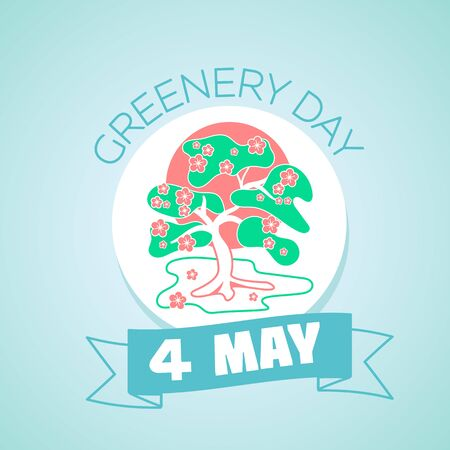 greenery: Calendar for each day on may 4. Greeting card. Holiday - greenery day. Icon in the linear style Illustration