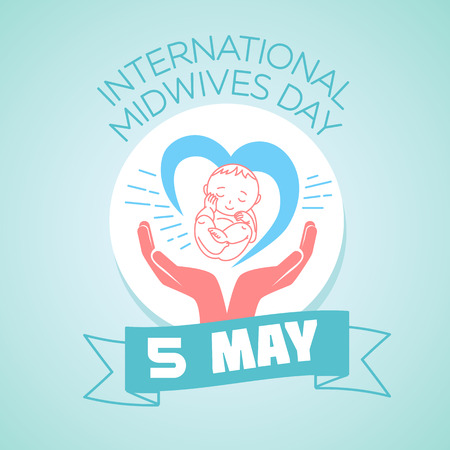 midwifery: Calendar for each day on may 5. Greeting card. Holiday - International Midwives Day. Icon in the linear style