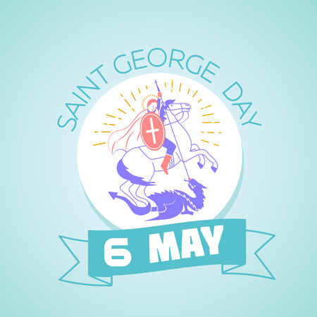 saint george: Calendar for each day on may 6. Greeting card. Holiday - Saint Georgi. Icon in the linear style