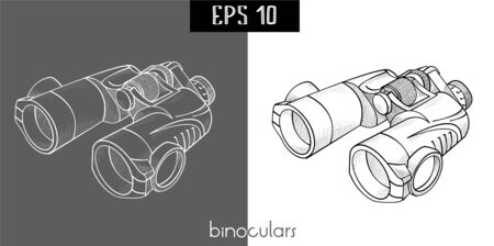 retro cartoon: Classic efficient hand rough metallic black and white binocular isolated on white and   black . Vector freehand ink drawn background sketch in scribble of pen on paper.