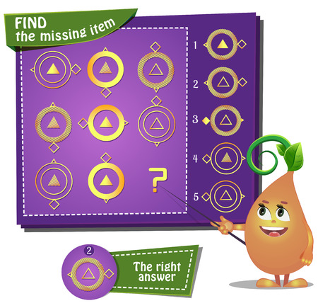Visual Game for children. Find the missing item  イラスト・ベクター素材