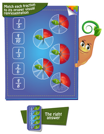 proper: Visual Game for children. Task: Match each fraction to its proper visual representation
