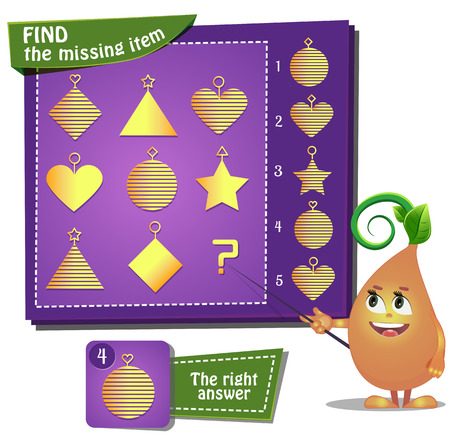 Visual Game for children. Find the missing item 矢量图像