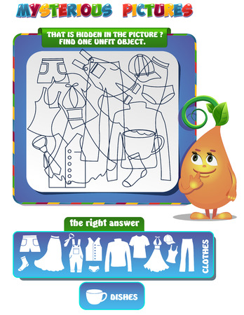 unfit: Visual Game for children. That is hidden in the picture. Find one unfit object.