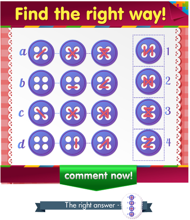 right of way: Visual Game for children. Task: Find the right way at the stitches button Illustration