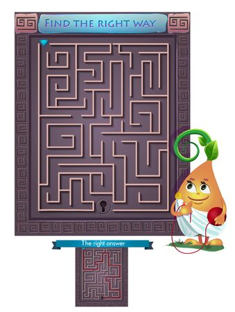 right of way: Visual Game for children. Task: find the right way out of the maze Illustration
