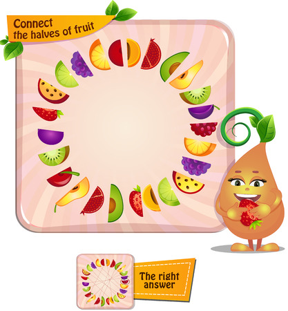Visual Game for children. Task: Connect the halves of fruit