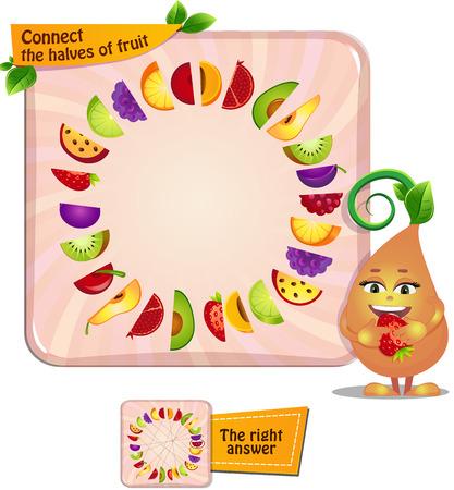 Visueel spel voor kinderen. Taak: Sluit de helften van fruit