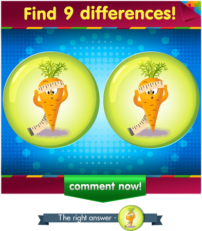 differences: Visual Game for children. Find 9 differences the funny carrot