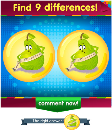 guess: Visual Game for children. Find 9 differences the funny pear Illustration