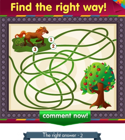 right of way: Visual Game for children. Task: find the right way